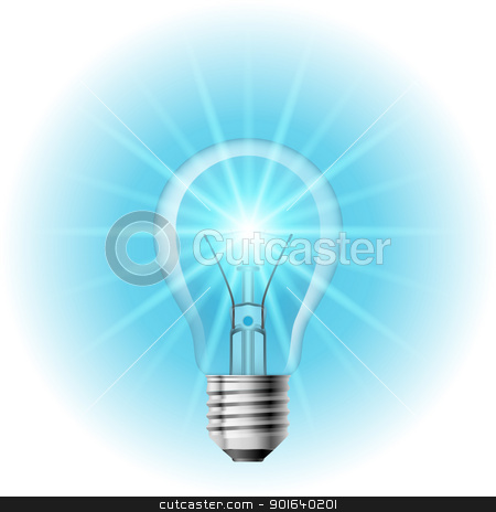 The lamp with the blue light stock photo, The lamp with the blue light. Illustration on white background for design  by dvarg
