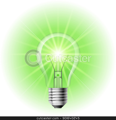 The lamp with the green light stock photo, The lamp with the green light. Illustration on white background for design  by dvarg