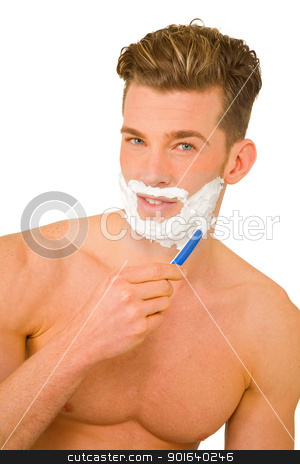 Young man shaving stock photo, Young man shaving by ambrophoto