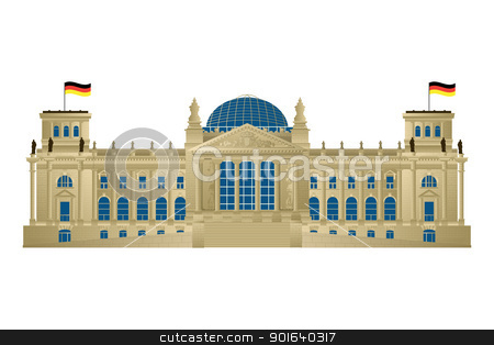 Reichstag stock vector clipart, Detailed illustration of Berlin's parliament, Reichstag. Isolated and grouped objects over white background. by Richard Laschon