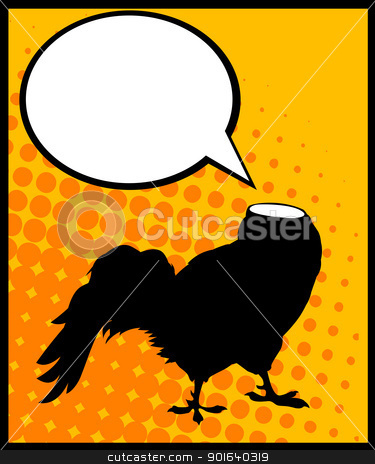 Headless rooster stock vector clipart, Conceptual comic style graphic of a headless rooster and speech bubble by Richard Laschon