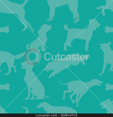 Doggie Style stock vector clipart, A seamless pattern comprised of dog silhouettes, over a solid teal color background. by Maria Bell