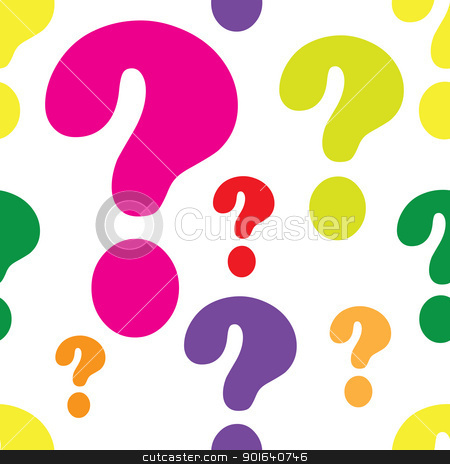 Question Mark Seamless stock vector clipart, A seamless pattern comprised of questions marks, in a variety of light colors. by Maria Bell