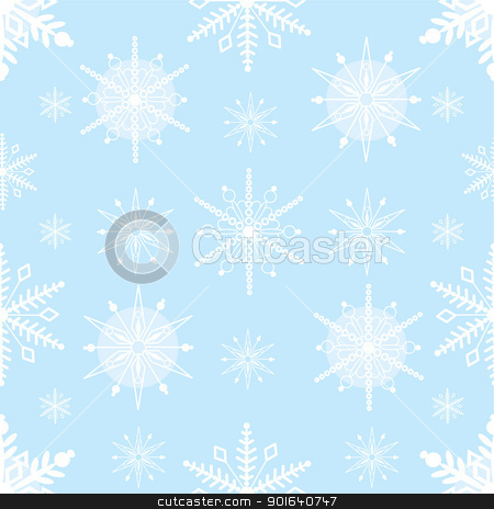 Snowflake Seamless stock vector clipart, A seamless pattern comprised of stylized, white snowflakes, over a pale blue background. by Maria Bell