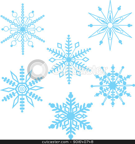 Snowflakes stock vector clipart, A seamless pattern comprised of stylized, blue snowflakes, over a transparent background. by Maria Bell