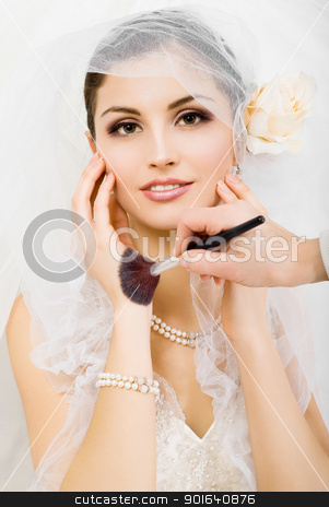 Beautiful young woman stock photo, Portrait of beautiful bride on light grey background by Tsalko