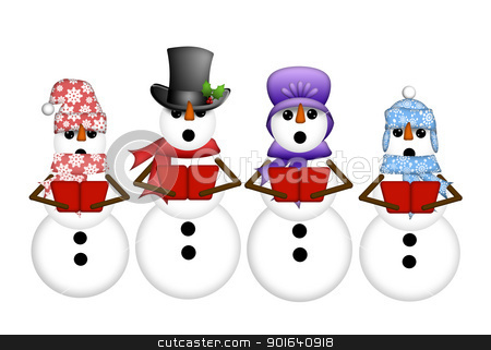 Snowman Carolers Singing Christmas Songs Illustration stock photo, Snowman Carolers Singing Christmas Songs Illustration Isolated on White Background by Thye Gn