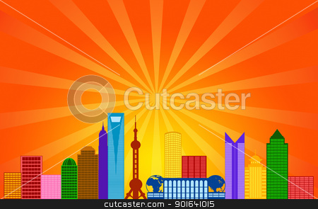 Shanghai China City Skyline Panorama stock photo, Shanghai China Pudong City Skyline Panorama Color Silhouette with Sun Rays Clip Art Illustration by Jit Lim