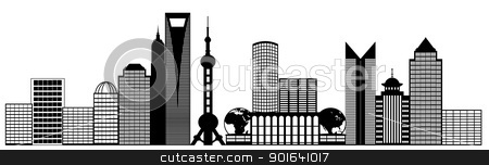 Shanghai City Pudong Skyline Panorama Clip Art stock photo, Shanghai China Pudong City Skyline Panorama Black and White Silhouette Clip Art Illustration by Jit Lim