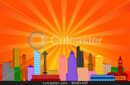 Seattle Washington City Skyline Panorama stock photo, Seattle Washington City Skyline Panorama Color Silhouette with Sun Rays Clip Art Illustration by Jit Lim