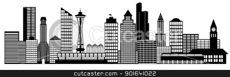 Seattle City Skyline Panorama Clip Art stock photo, Seattle City Washington Skyline Panorama Black and White Silhouette Clip Art Illustration by Jit Lim
