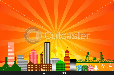 Portland City Skyline Panorama stock photo, Portland City Oregon Skyline Panorama Color Silhouette with Sun Rays Clip Art Illustration by Jit Lim