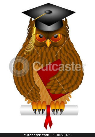 Wise Old Owl with Graduation Cap and Diploma Illustration stock photo, Wise Old Owl with Feathers and Claws Wearing Graduation Cap Holding Diploma BookIllustration Isolated on White Background by Jit Lim