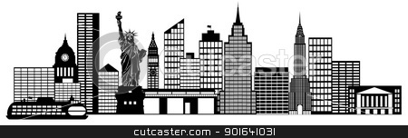 New York City Skyline Panorama Clip Art stock photo, New York City Skyline Panorama Black and White Silhouette Clip Art Illustration by Jit Lim