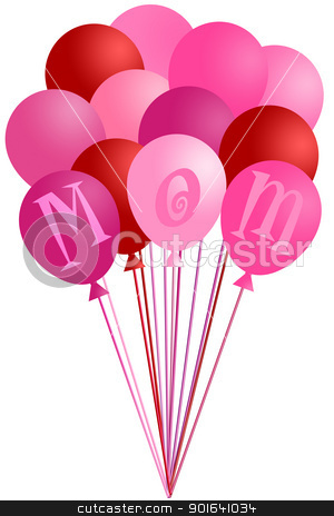 Mothers Day Mom Pink Balloons stock photo, Mothers Day Mom Alphabet Pink and Red Balloons Isolated on White Background Illustration by Jit Lim