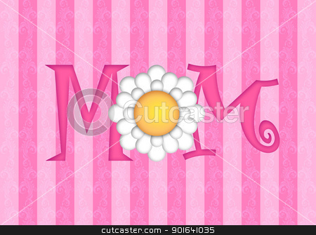 Happy Mothers Day with Daisy Flower stock photo, Happy Mothers Day with Daisy Flower on Pink Scroll Background Illustration by Jit Lim