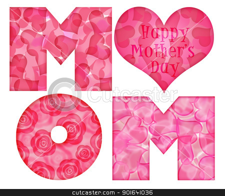 Happy Mother's Day Mom Alphabet stock photo, Happy Mothers Day Mom Alphabet Letters with Rose Hearts Pattern Illustration Isolated on White Background by Jit Lim