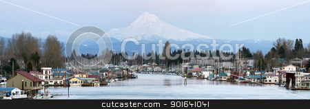 Boat Houses Along Columbia River and Mount Hood stock photo, Flotaing Boat Houses Along Columbia River Gorge and Mount Hood Panorama by Jit Lim