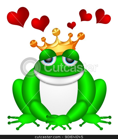 Cute Green Frog with Crown Illustration stock photo, Cute Green Frog Prince with Crown Sitting Illustration Isolated on White Background with Flying Red Hearts by Jit Lim