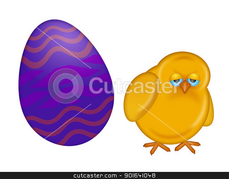 Easter Day Chick with Painted Egg stock photo, Happy Easter Day Chick Dye Painted Egg Isolated on White Background Illustration by Jit Lim