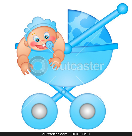Baby Boy in Stroller stock photo, Baby Boy in Stroller Isolated on White Background Illustration by Jit Lim