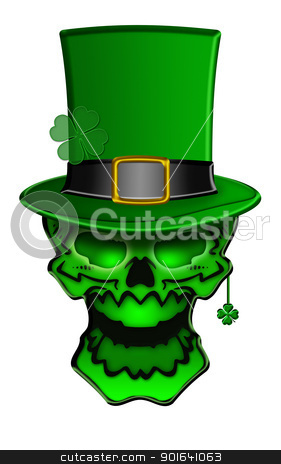 St Patricks Day Green Skull with Shamrock Leaf Earrings stock photo, St Patricks Day Green Skull with Leprechaun Hat with Shamrock Earrings Isolated on White Background Illustration by Jit Lim