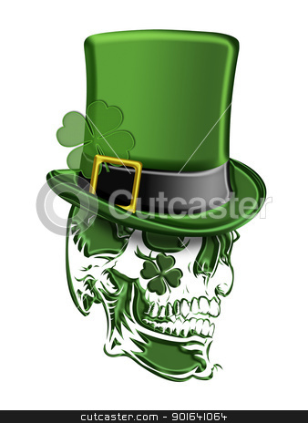 St Patricks Day Green Skull Leprechaun Hat  stock photo, St Patricks Day Green Skull with Leprechaun Hat with Shamrocks Isolated on White Background Illustration by Jit Lim