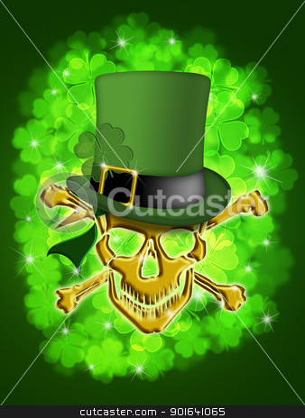 St Patricks Day Gold Skull Leprechaun Hat  stock photo, St Patricks Day Golden Skull with Leprechaun Hat with Shamrocks Bokeh Blurred Background Illustration by Jit Lim