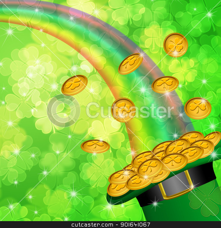 Pot of Gold Shamrock Blurred Background stock photo, Pot of Gold and Rainbow Over Lucky Irish Shamrock Four-Leaf Clover Blurred Background Illustration by Jit Lim