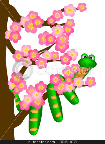 Chinese New Year Snake on Cherry Blossom Tree stock photo, Chinese New Year Green Snake on Cherry Blossom Flowering Tree in Spring Illustration by Jit Lim