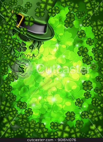 Skull on Shamrock Four Leaf Clover Background Vertical stock photo, St Patricks Day Leprechaun Skull on Four Leaf Clover Shamrock with Blurred Background Vertical by Jit Lim