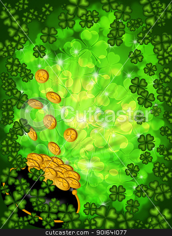 Pot of Gold on Shamrock Four Leaf Clover Background Vertical stock photo, St Patricks Day Pot of Gold on Four Leaf Clover Shamrock with Blurred Background Vertical by Jit Lim