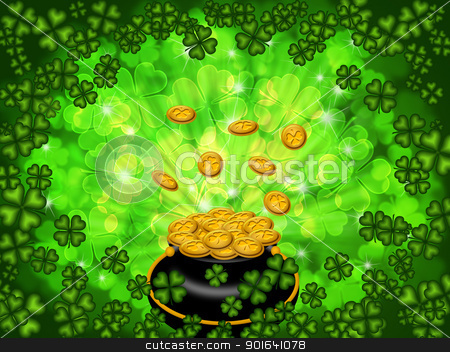 Pot of Gold on Shamrock Four Leaf Clover Background stock photo, St Patricks Day Pot of Gold on Four Leaf Clover Shamrock with Blurred Background by Jit Lim