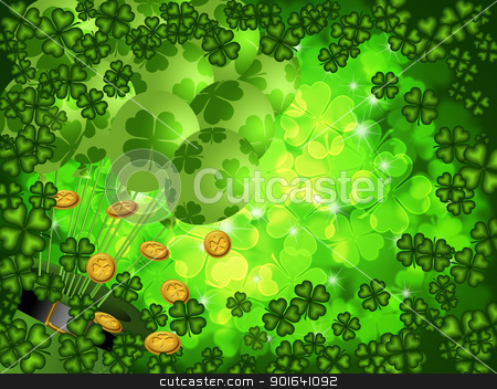 Shamrock Four Leaf Clover Background with Balloons stock photo, St Patricks Day Four Leaf Clover Shamrock with Leprechaun Hat and Balloons on Blurred Background Illustration by Jit Lim