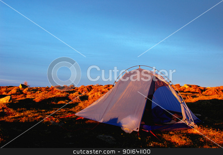Camping stock photo, Camping on the top of the mountains at sunrise by John Young