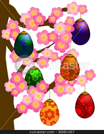 Flowering Cherry Blossom Tree with Easter Eggs stock photo, Flowering Cherry Blossom Tree in Spring Season with Hanging Colorful Painted Easter Eggs Illustration by Jit Lim