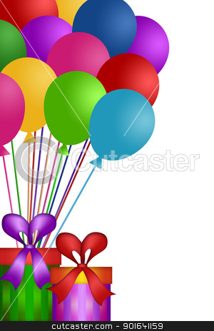 Balloons with Gift Wrapped Presents stock photo, Colorful Balloons with Gift Wrapped Presents Isolated on White Background Illustration by Jit Lim