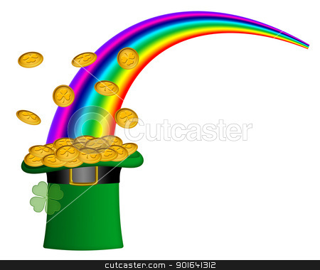 Saint Patricks Day Hat of Gold with Rainbow stock photo, Saint Patricks Day Hat of Gold with Shamrock Coins and Rainbow Illustration by Jit Lim