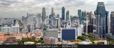 Singapore Cityscape with Central Business District View stock photo, Singapore Cityscape with Central Business District and Chinatown View Panorama by Jit Lim