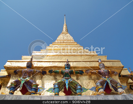 Two gilt chedis stock photo, Two gilt chedis in Temple of The Emerald Buddha (Wat Phra Kaew), Bangkok, Thailand by Exsodus
