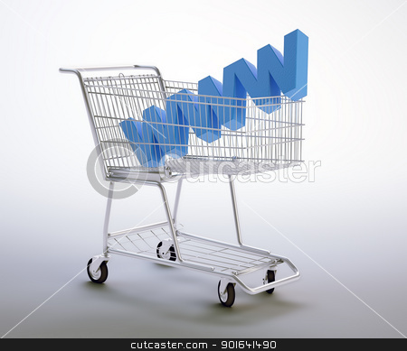 World wide web shopping cart stock photo, World wide web symbol inside a shopping cart by Mopic