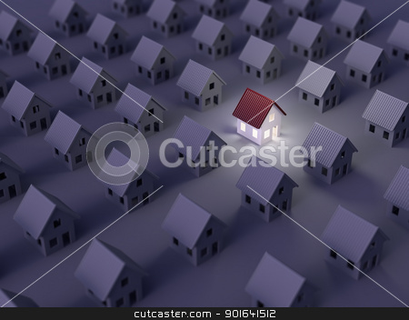 3D home icons stock photo, Searching for the right real estate by Mopic