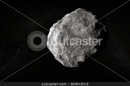 Large planetoid stock photo, Large planetoid in empty space by Mopic