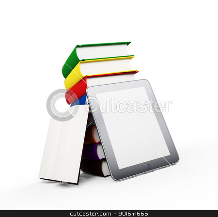 A tablet with books  stock photo, A tablet with books - ebook publication by Mopic