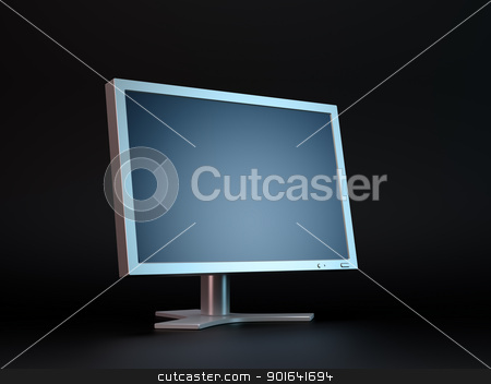 Dark computer display stock photo, Dark computer display monitor by Mopic