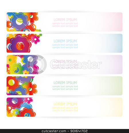 flowers stock vector clipart, set flowers banners with place for text by Miroslava Hlavacova