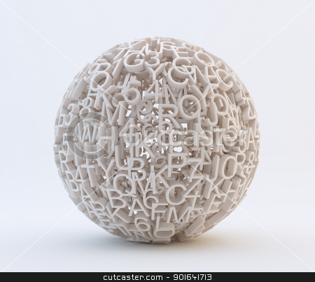 Random letters and numbers stock photo, Random letters and numbers forming a sphere by Mopic