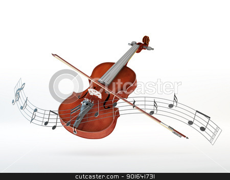Violin background stock photo, Violin with a bow surrounded by a line of floating musical notes by Mopic