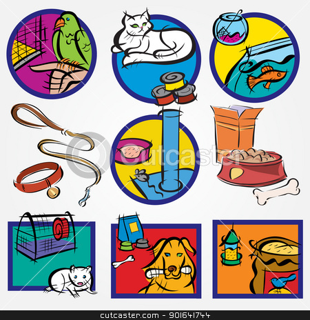 Set Icon for Pets-shop stock vector clipart, Set Icon for Pets-shop by Uliana Gureeva