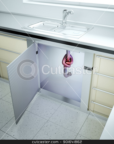 Clogged sink stock photo, Clogged sink - drain pipe with a knot by Mopic